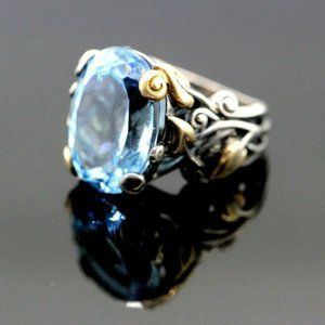 18k and Sterling silver Topaz Ring
